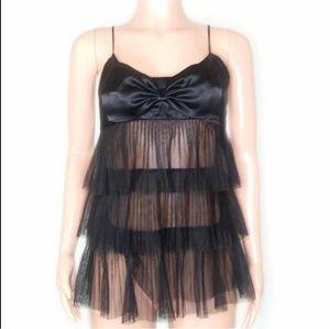 Victorias Secret Black Mesh Layered Slip Lingerie